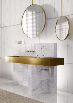 By adding shimmering or rustic brass you get a much warmer feeling in a bathroom.  Add a little or a lot, to achieve a distinctive, gorgeous look.