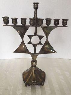 Menorah Hanukkah Spinning Star of David Silver Tone Chanukah Jewish