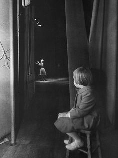 6 year old Carrie Fisher watching from the wings as her mother Debbie Reynolds performs on stage at the Riviera Hotel in Las Vegas - 1963