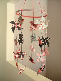 DIY Mobile pictures - love the pinwheels for Lucy