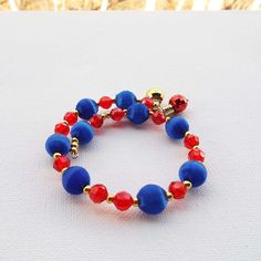 Royal Blue Silk Beaded Bracelet Blue Red Gold by Willows3Creations