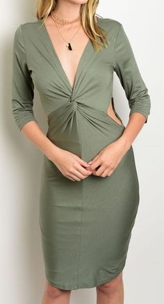 Twist Front Knot Sheath Dress Elegant Sultry Side Cutouts Jersey Knit Fashion #Fashion #StretchBodycon #Cocktail