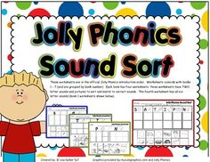 These worksheets are in the official Jolly Phonics introduction order.  Worksheets coincide with books 1  7 (and are grouped by book number).  Each book has four worksheets: three worksheets have TWO letter sounds and pictures to sort and match to correct sounds.