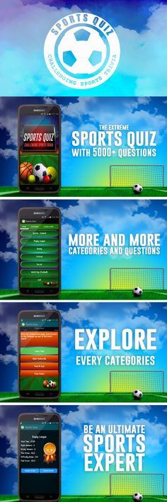 Sports Quiz in IOS, Android and Html One of the best challenging sports quiz in stores.