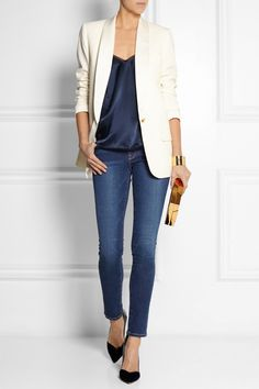 J.CREW Collection satin-trimmed wool-piqué tuxedo blazer | KIKI DE MONTPARNASSE Amour open-back silk-satin camisole | FRAME DENIM Le Skinny de Jeanne mid-rise jeans | GIANVITO ROSSI patent leather-trimmed velvet pumps