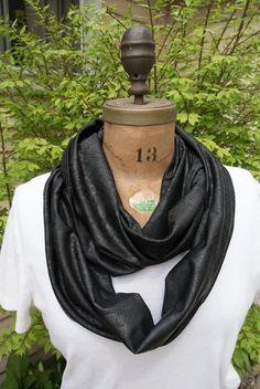 Animal print snake skin black infinity scarf by MomAndMeStitch
