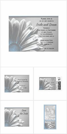 Blue Floral Highlights Wedding Stationery Set a classy tone for you marriage ceremony with the pretty Light Blue Floral Highlights Wedding Stationery Collection. Pair these elegant custom flowery wedding invitations with the matching rsvp cards, postage stamps, save the dates and thank you notes to create a coordinated set. Each product features a floral photograph of a gerber daisy flower blossom with a baby blue tine and silver gray background.  #bluewedding #weddinginvitations