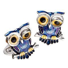 Enamel Winking Owl Cufflinks
