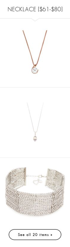 """""""NECKLACE [$61-$80]"""" by emramisa-1 on Polyvore featuring jewelry, necklaces, crystal pendant necklace, white pearl pendant necklace, crystal jewelry, crystal stone necklace, lobster clasp necklace, 18k yellow gold necklace, long necklaces and 18k gold jewelry"""