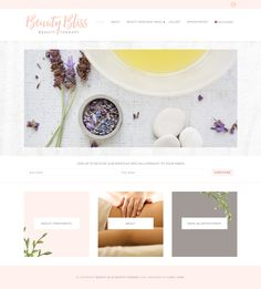 Gorgeous website design for a beauty therapy site. Using Olivie Feminine WordPress Theme from Bluchic. Visit beautyblissbeautytherapy.com.au