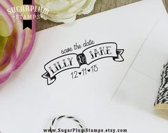 FREE SHIPPING custom save the date banner stamp by SugarPlumStamps