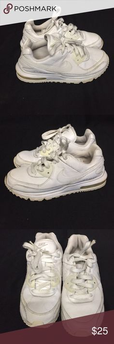 White Girls 2.5Y Nike Air Max. Solid White with signs of wear on shoes and bottoms. Nike Air Max. Shoes Sneakers
