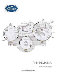 The Indiana- love the arrangement, maybe different layouts with a hot tub in between and covered walkway rainier yurts Round Building, Building Plans, Building A House, Natural Building, Building Ideas, Building Design, The Plan, How To Plan, Yurt Home