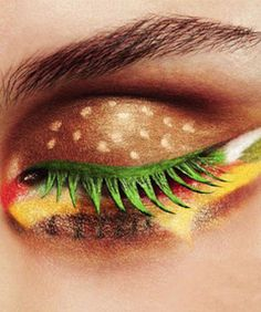 Behold: The Burger King Makeover // Make-up artist gone loose with some bright colors food theme based idea and with no restriction. OMGAWD.