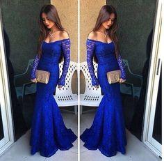 Moda fora do ombro sexy sereia vestidos prom vestidos lace azul royal prom dress comprida básica especial ocasião vestidos