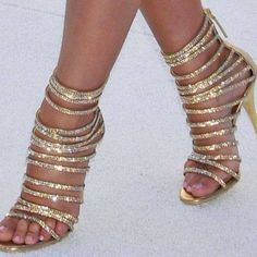 Women's Style Sandal Shoes Summer Bucket List Ideas Gold Open Toe Glitter Strappy Evening Shoes Rhinestone Stiletto Heels Strappy Sandals For Party For Night Club Spring Outfits Women Chic Fashion Prom Dress Heels Elegant Wedding Dresses Shoes Prom Dresses Long, Big Day, Red Carpet | FSJ