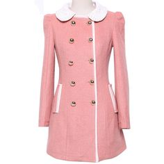 Pink Pearl Lace Peter Pan Collar Double Breasted Woolen Coat ($63) ❤ liked on Polyvore