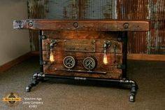 Steampunk Industrial Steam Locomotive Railroad Gauge Table / Barn Wood #1481