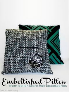 Embellished Pillow from dollar store hair accessories