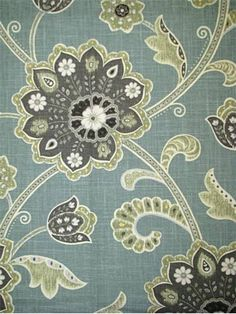 "Ankara Pond - 55% LINEN 45% RAYON Jacobean floral fabric. Multi purpose for drapery, light upholstery or top of the bed. Made in U.S.A. 27"" repeat. 54"" wide. Breamore Textiles."
