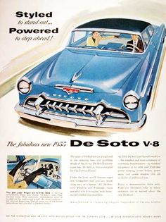 1955 DeSoto Fireflite Sedan original vintage advertisement. Gorgeous color illustration. Equipped with PowerFlite Transmission.