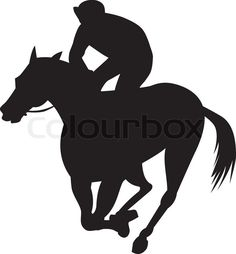 Illustration of a horse and jockey racing silhouette on isolated white background done in retro style.   Vector   Colourbox on Colourbox