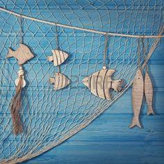 Leven decoratie marine en op blauwe sjofele achtergrond Stockfoto