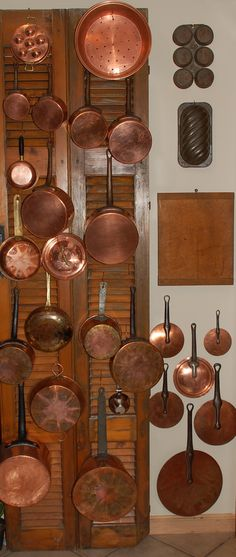 Copper pots and lids - great collection