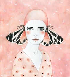 A collection of illustrations of butterfly women