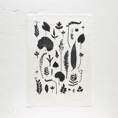 A3 Leaf Arrangement Lino Print / Mr Studio London