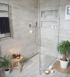 Most Popular Small Bathroom Remodel Ideas on a Budget in 2018 This beautiful look was created with cool colors, and a change of layout. Wood Bathroom, Laundry In Bathroom, Basement Bathroom, Master Bathroom, Beige Bathroom, Tranquil Bathroom, Master Shower, Modern Bathroom, Bathroom Design Small