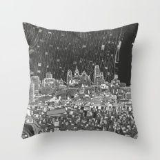 philadelphia city skyline black and white Throw Pillow