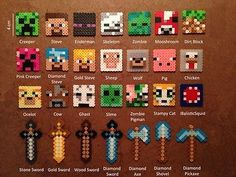 MINECRAFT Perler Bead Magnet, Keychain, Necklace PIXEL ART - HANDMADE from Beads