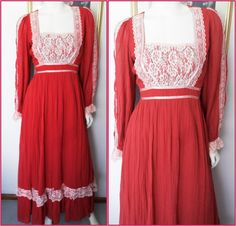 Vtg.70s Gunne Sax Crimson Red Gauze White Lace Renaissance Maiden Maxi Dress.M.Bust 36-38.Waist 28-30. by autumnschild on Etsy https://www.etsy.com/listing/212240471/vtg70s-gunne-sax-crimson-red-gauze-white