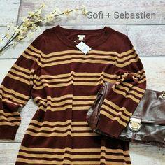 J.Crew factory Charley sweater dress in stripe L Cabernet/saddle  NO TRADES J. Crew Dresses