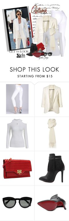"""Shein White Blazer"" by goreti ❤ liked on Polyvore featuring Boutique Moschino and CÉLINE"