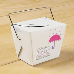 Pink and Purple Umbrella Baby Shower Favor Box
