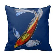 Orange Koi Japanese carp fish watercolour art Throw Pillow