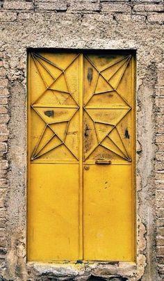 Yellow door Tlaxcala, Mexico