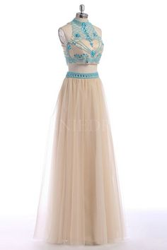 Shop discount Two Piece A Line Beaded High Neck Floor Length Tulle Keyhole Back Prom Dress WNPD0404