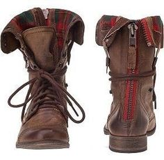 Flannel steve madden combat boot | ♡♥ the zipper style so easy to wear