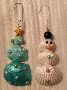 SeaShell Christmas Ornaments; Tropical, Coastal, Beach;  Hand Painted, 3 Sea Shells  glued together; Snowman ⛄️ embellished w/1/2 pearls for eyes & buttons, large black pearl for hat  & mini shell nose painted orange; Tree  embellished with Starfish topper bead, & pearls for ornaments; DIY by SCGylfe