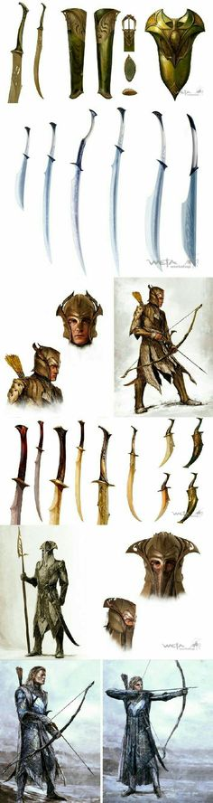 Swords, bow and arrow, hunters; Anime Weapons