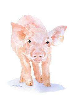 Pink Pig watercolor painting farm animal. Nursery art idea.