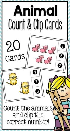 Animal Count and Clip Cards  Students will love practicing counting with these fun animal themed count and clip cards! Each card has a different combination of animal pictures and three possible answers on the side. Students clip which total is correct for the set of animals.