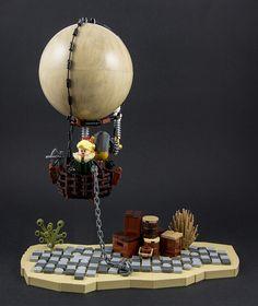 Steampunk - Hot air balloon by Lego Fjotten Legos, Lego Lego, Deadpool Hd Wallpaper, Steampunk Lego, Balloons, Air Balloon, Lego Ship, Lego Craft, Lego Projects