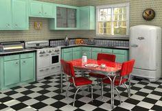 Estas cocinas son interesantes. Quizá en vez de pintar los muebles de blanco puedo pintar de aguamarina.