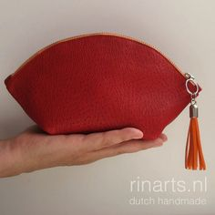 Leather bag organizer / zipper pouch / cosmetic bag / makeup bag WEDGE in red cow leather and orange zipper