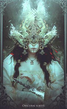 Obscurae Sortis by soufiane idrassi, via Behance: Fantasy Women, Dark Fantasy Art, Fantasy Girl, Dark Art, Illustrations, Illustration Art, Character Art, Character Design, Buch Design