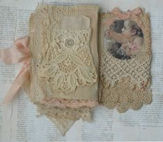 Mixed Media Fabric Collage Book of Little Angels | eBay